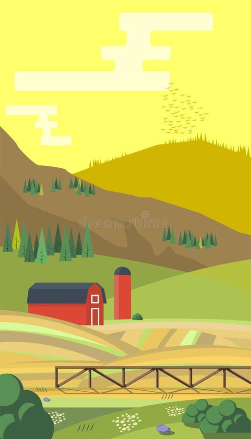 Uprawia ziemię z mountes, kraju krajobraz, modny mieszkanie stylu projekta szablon ilustracja ilustracja wektor