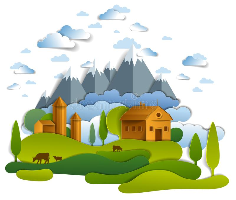 Uprawia ziemię w scenicznym krajobrazie pola, drzewa, góra szczyty i krajów budynki, chmury w niebie, krowy mleka rancho, wieś ilustracji