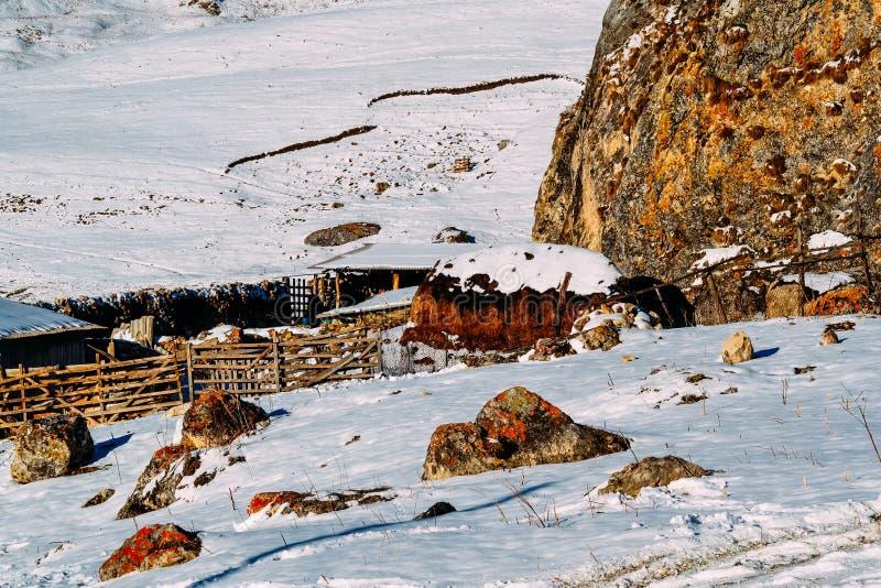 Uprawia ziemię w skalistym i śnieżnym terenie zakrywającym z śniegiem zdjęcie royalty free