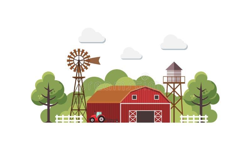 Uprawia ziemię z zbiornikiem wodnym i ciągnikiem, kraju krajobraz, modnego mieszkanie stylu projekta wektorowy szablon ilustracja wektor