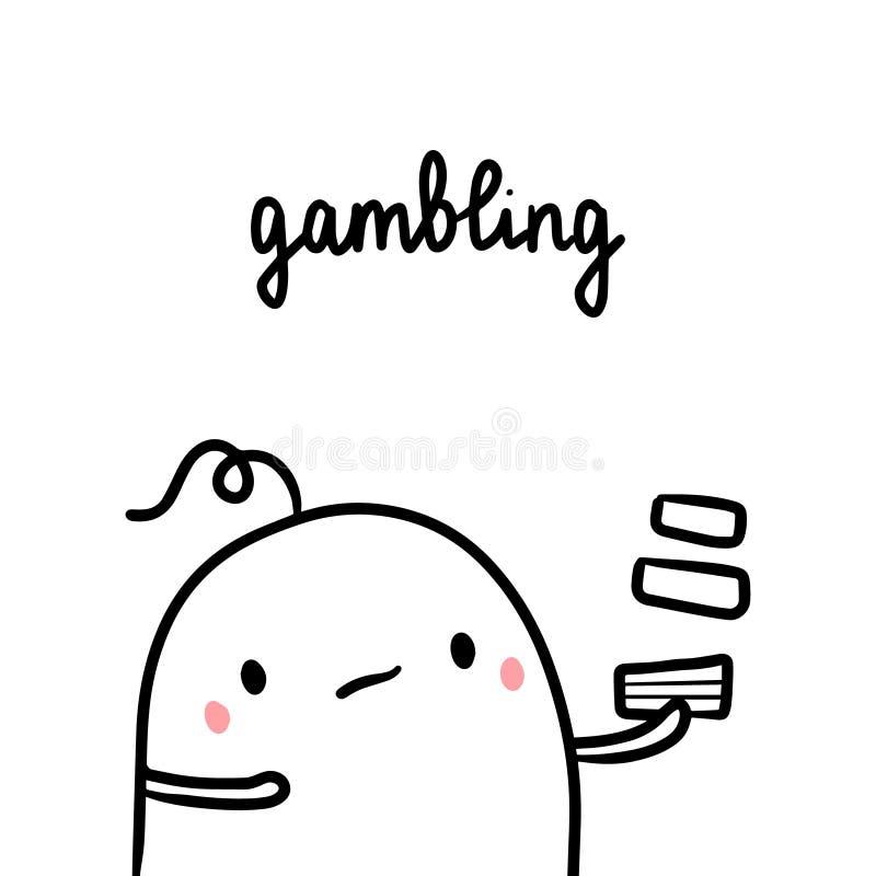 Uprawiający hazard złego przyzwyczajenie wręcza patroszoną ilustrację z ślicznym marshmallow ilustracja wektor