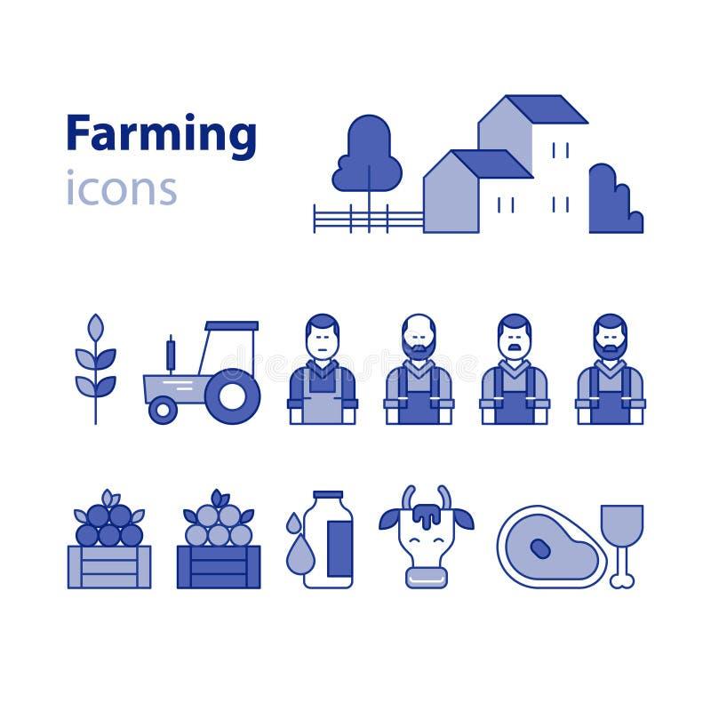 Uprawiający ziemię produkt ikony ustawiać, gospodarstwo rolne dom, owocowi warzywa, krowy mleko, mięso ilustracji