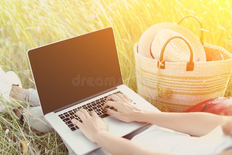 Uprawy dziewczyna używa laptop na łące zdjęcia stock