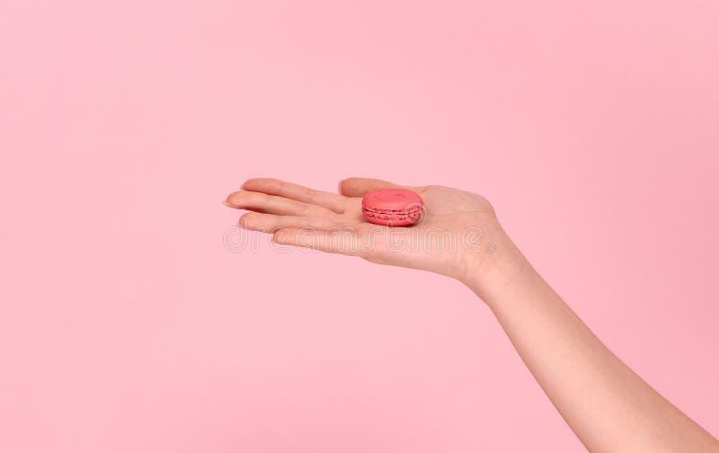 Uprawy ręki mienia macaron na palmie zdjęcie royalty free