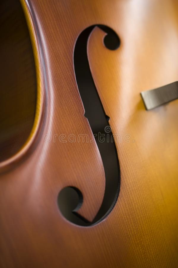 Upright bass. Closeup detail view at the upright bass stock images