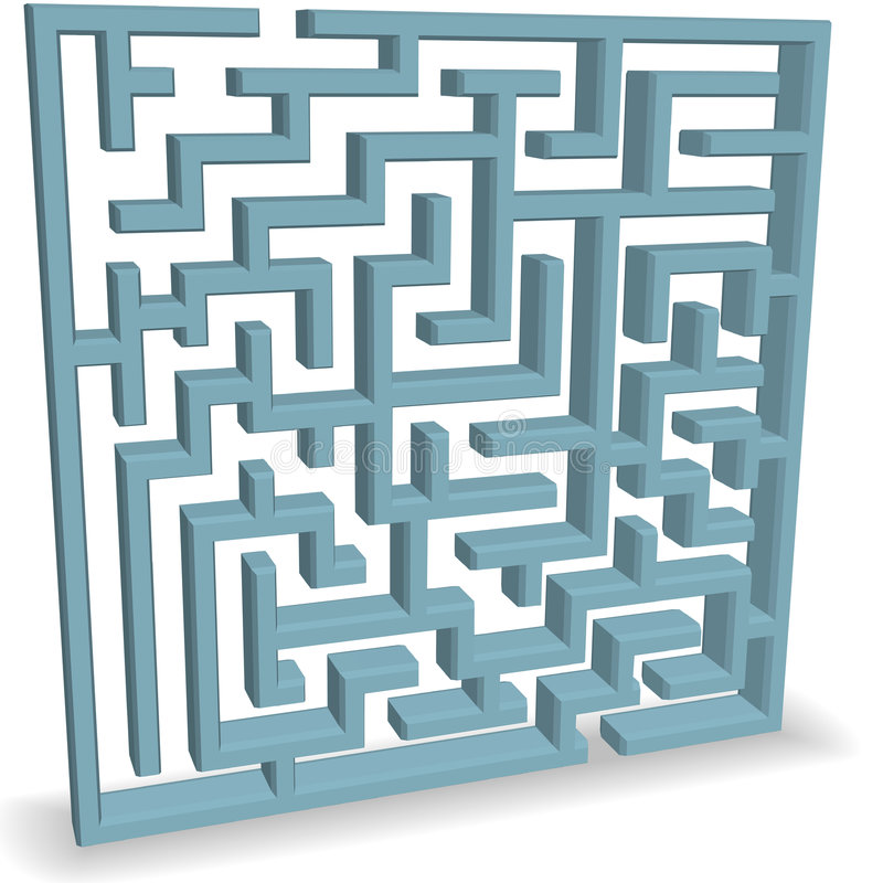 Download Upright Blue Maze Puzzle On Shadow Stock Vector - Image: 7796364