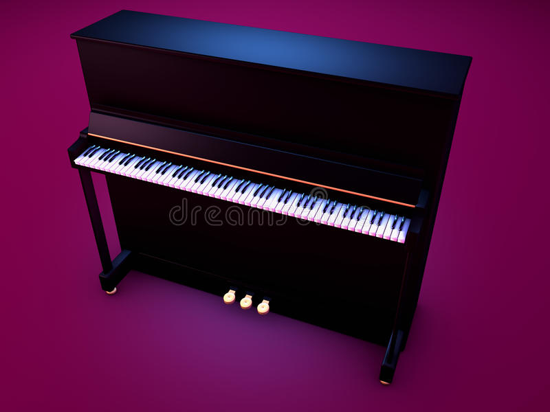 Upright piano. Details of upright black piano, isolated on purple background stock photos