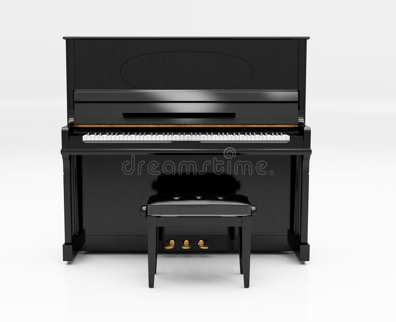 Upright piano. On light background in studio royalty free stock photo