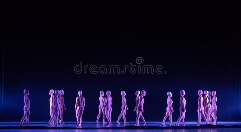 Upright walking-Huang Mingliang`s dance`No shelter`. In May 25, 2018, the dance drama `no shading` was staged at the theater of Jiangxi science and technology stock photography