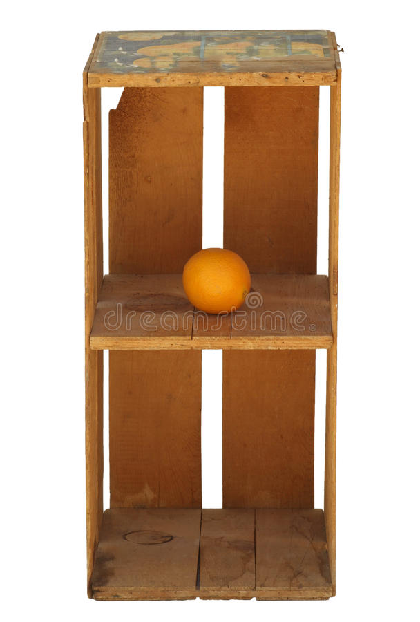 Download Upright Wood Orange Crate Isolated With One Orange Stock Photo    Image Of Wooden,