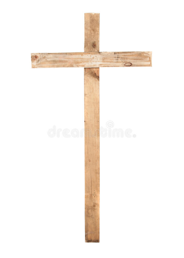 Upright wooden cross. Isolated on a white background royalty free stock photo