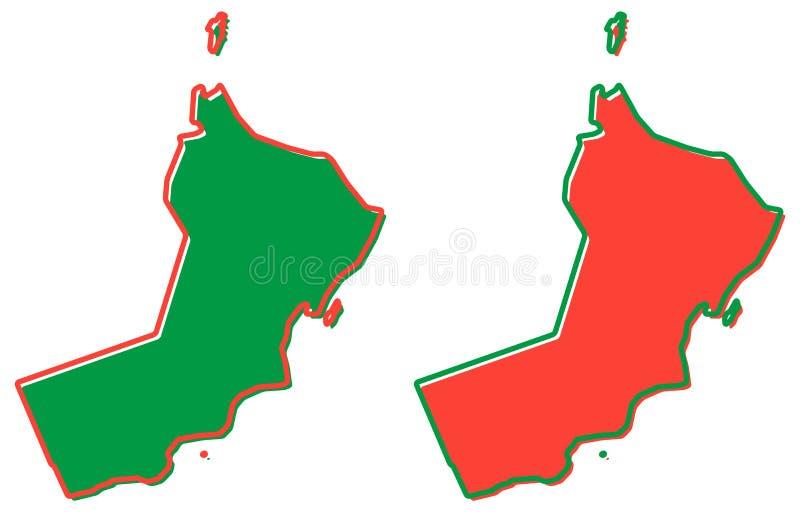 Uproszczona mapa Oman kontur Pełnia i uderzenie jesteśmy krajowy col royalty ilustracja