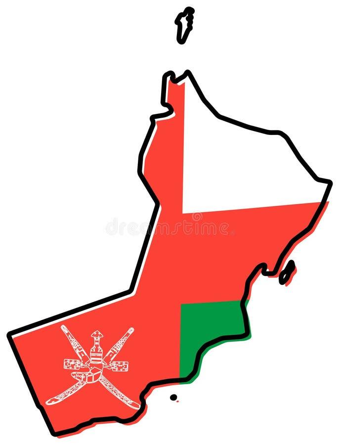 Uproszczona mapa Oman kontur z nieznacznie przegiętą flagą pod nim, royalty ilustracja