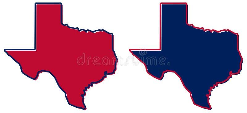 Uproszczona mapa Teksas kontur Pełnia i uderzenie jesteśmy stanu colou royalty ilustracja