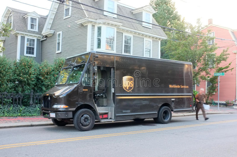 UPS Delivery Van. BOSTON, OCT. 8: UPS Delivery van truck parked in downtown Boston, Massachusetts, United States taken on Oct. 8, 2015 stock photography