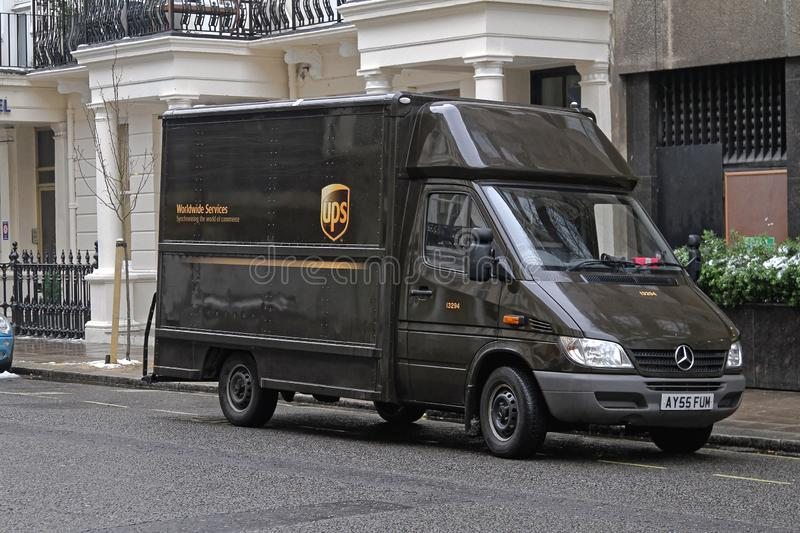 UPS Delivery Van. London, United Kingdom - January 13, 2010: UPS Brown Van Package Delivery in London, UK royalty free stock photos