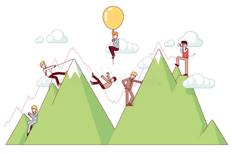Ups and downs on a entrepreneur path. Of business concept. Businessman climbing trend mountains and risking capital. Modern flat style thin line vector stock illustration