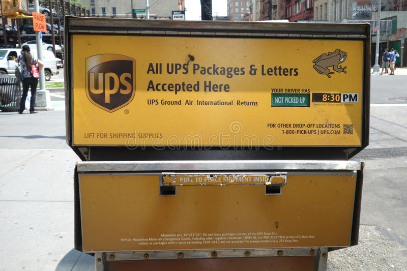 UPS Drop Box. A drop box of the United Parcel Service (UPS), in New York City royalty free stock image