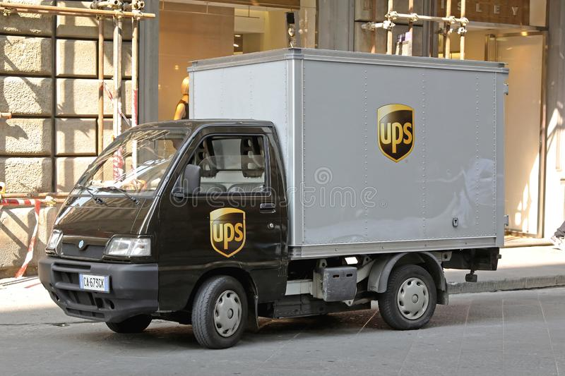 Ups Electric Truck. Florence, Italy - September 28, 2009: Ups Delivery by Electric Truck at Street in Firenze, Italy royalty free stock photography