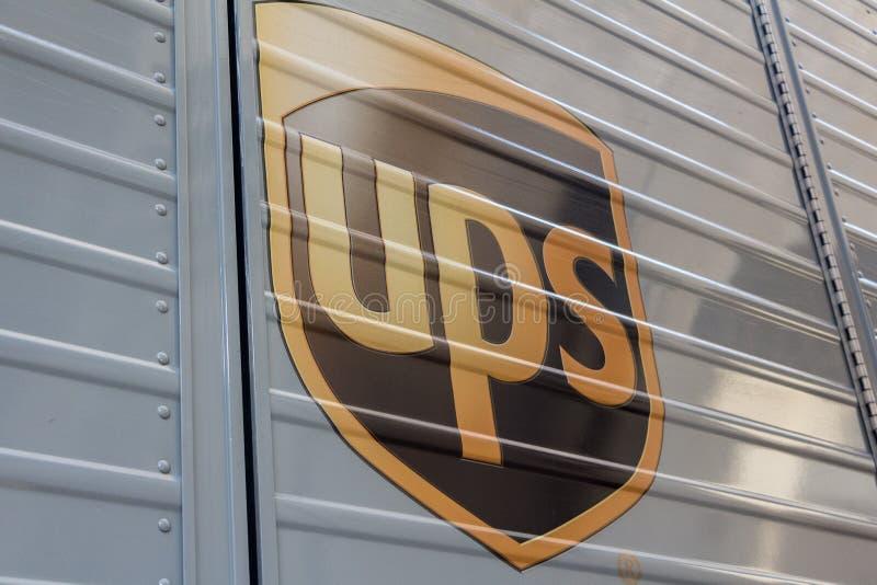 UPS logo on UPS`s van stock photo
