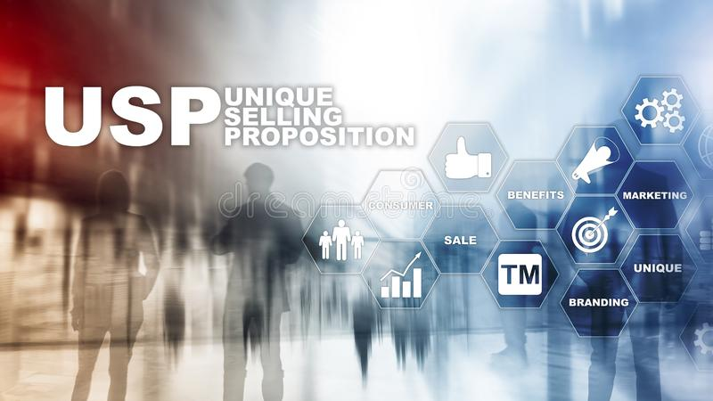 UPS - Proposte di vendita uniche Concetto di finanza e di affari su uno schermo strutturato virtuale Media misti illustrazione vettoriale
