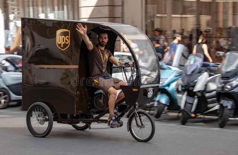 A UPS Tricycle in Rome. A UPS delivery tricycle on the streets of Rome, Italy royalty free stock photography