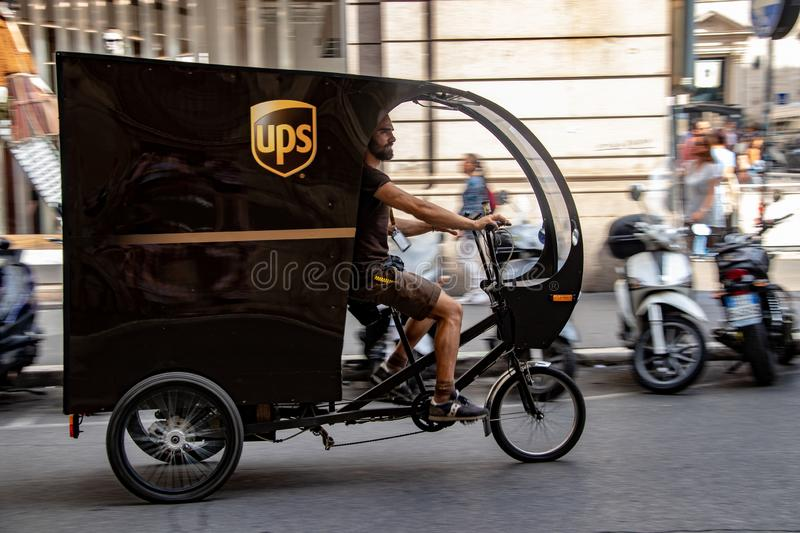 A UPS Tricycle in Rome. A UPS delivery tricycle on the streets of Rome, Italy stock photography