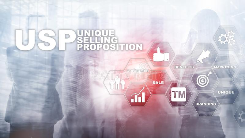 UPS - Unique selling propositions. Business and finance concept on a virtual structured screen. Mixed media stock illustration