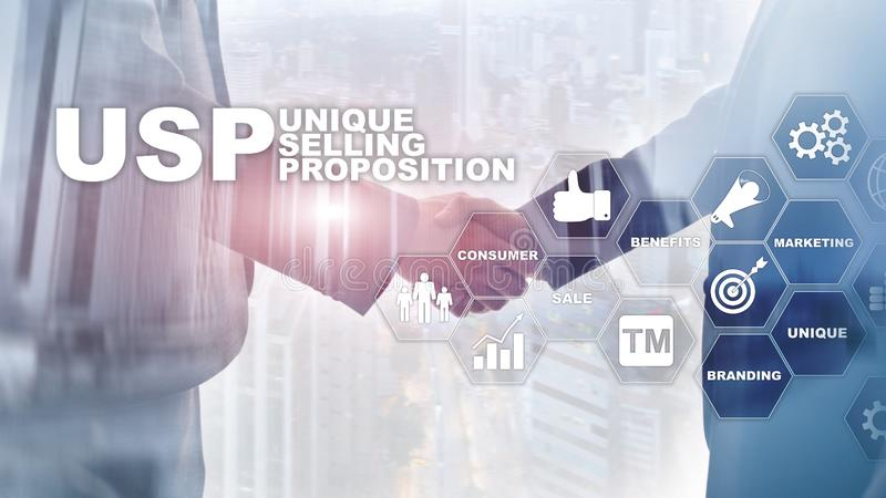 UPS - Unique selling propositions. Business and finance concept on a virtual structured screen. Mixed media. royalty free stock image