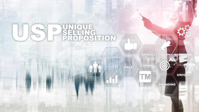 UPS - Unique selling propositions. Business and finance concept on a virtual structured screen. Mixed media royalty free stock photos