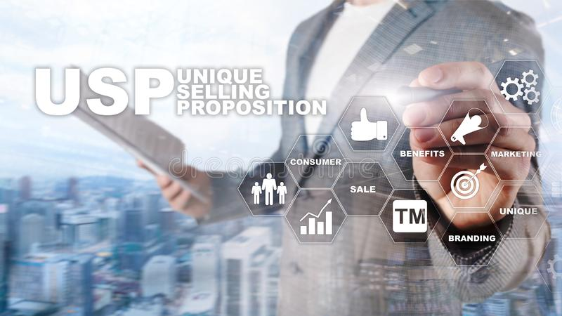 UPS - Unique selling propositions. Business and finance concept on a virtual structured screen. Mixed media royalty free stock images