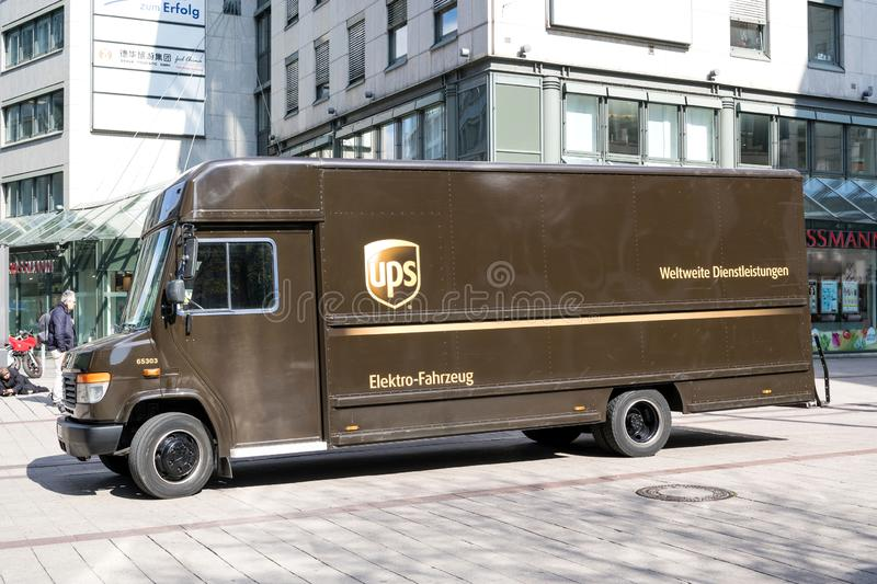Electric powered UPS delivery van. UPS is the world`s largest package delivery company and a provider of supply chain management solutions royalty free stock photography