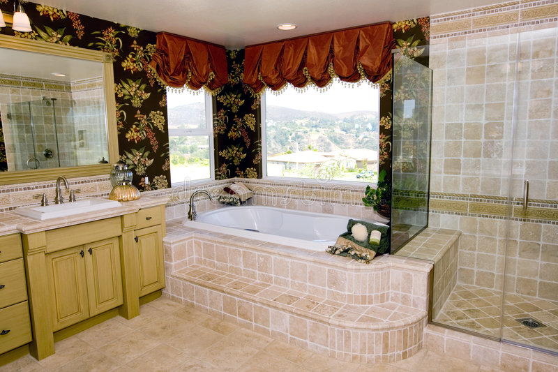 Upscale bathroom stock photos