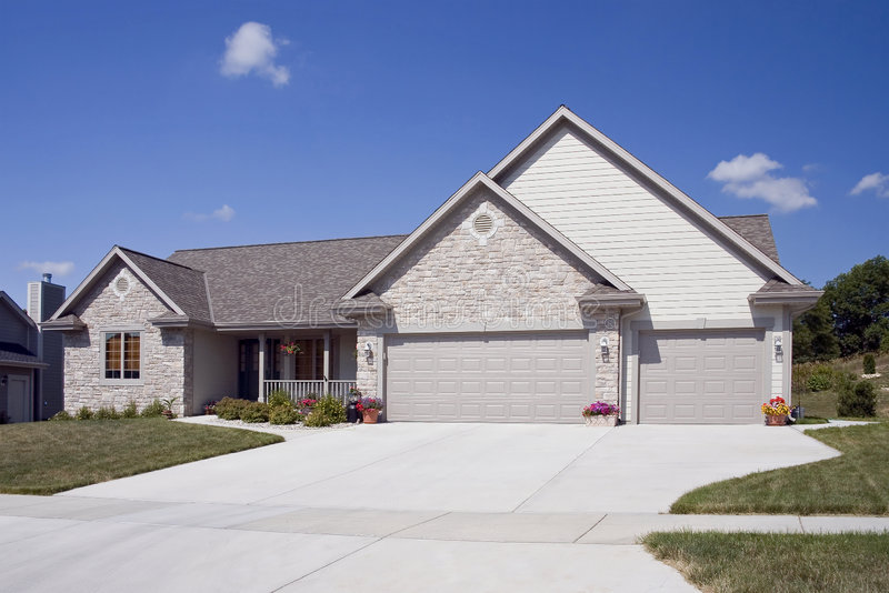 Download Upscale Home With Paved Drive Stock Image - Image: 8896911
