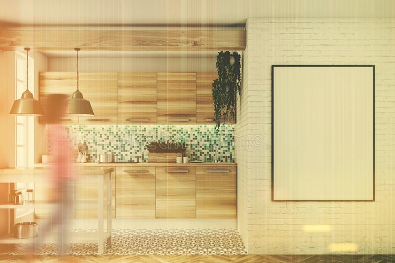 Green Mosaic Kitchen, Wooden Consoles, Poster, Girl Stock ...