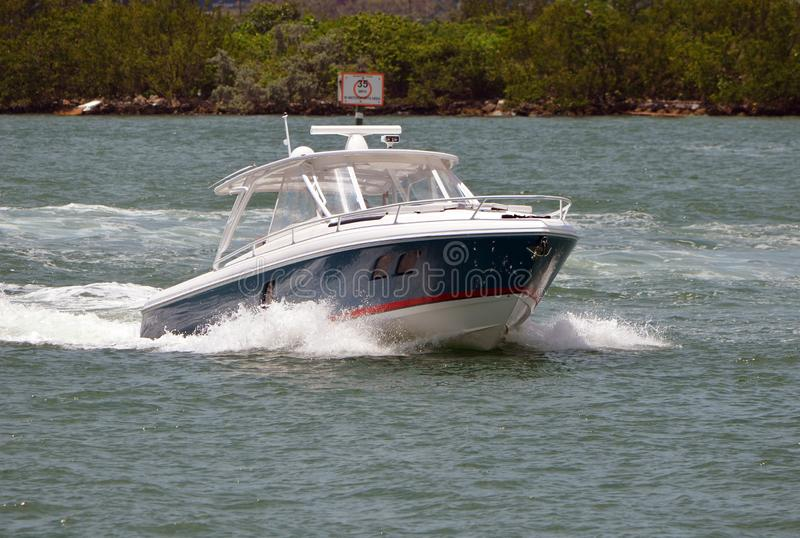 Upscale Sport Fishing Boat on the Florida Intra-coastal Waterway royalty free stock photos