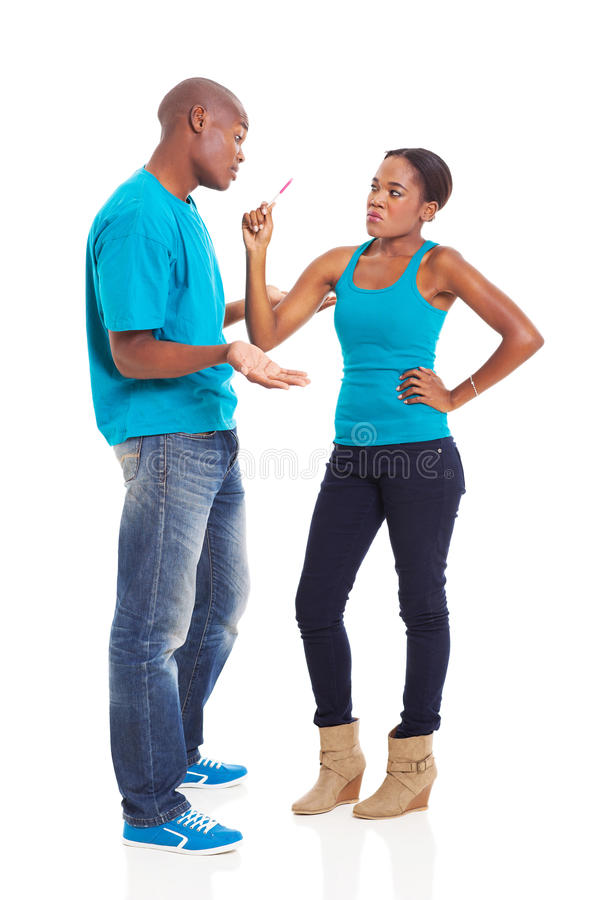 Upset african pregnancy stock image
