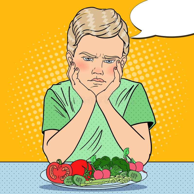 Upset Boy with Plate of Fresh Vegetables. Healthy Eating. Pop Art retro illustration stock illustration