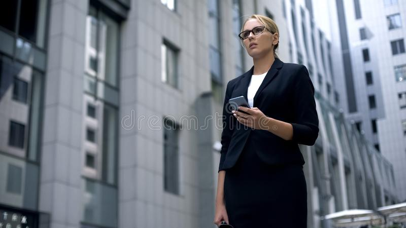 Upset business lady receiving e-mail with bad news, womans rights discrimination royalty free stock images