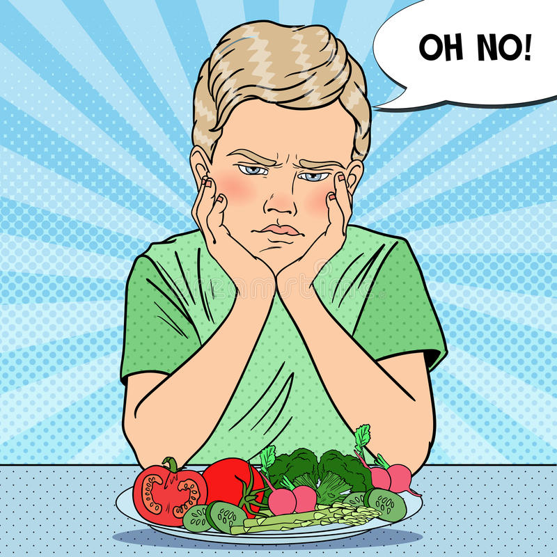 Upset Child with Plate of Fresh Vegetables. Healthy Eating. Pop Art retro illustration vector illustration