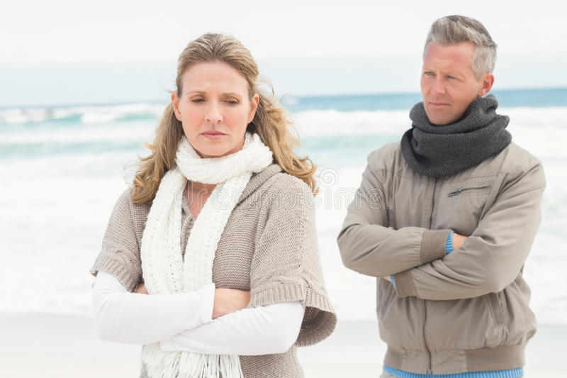 Upset couple look away from each other royalty free stock photos