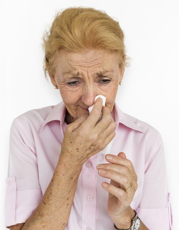 Upset Crying Depression Senior Woman Concept stock photo
