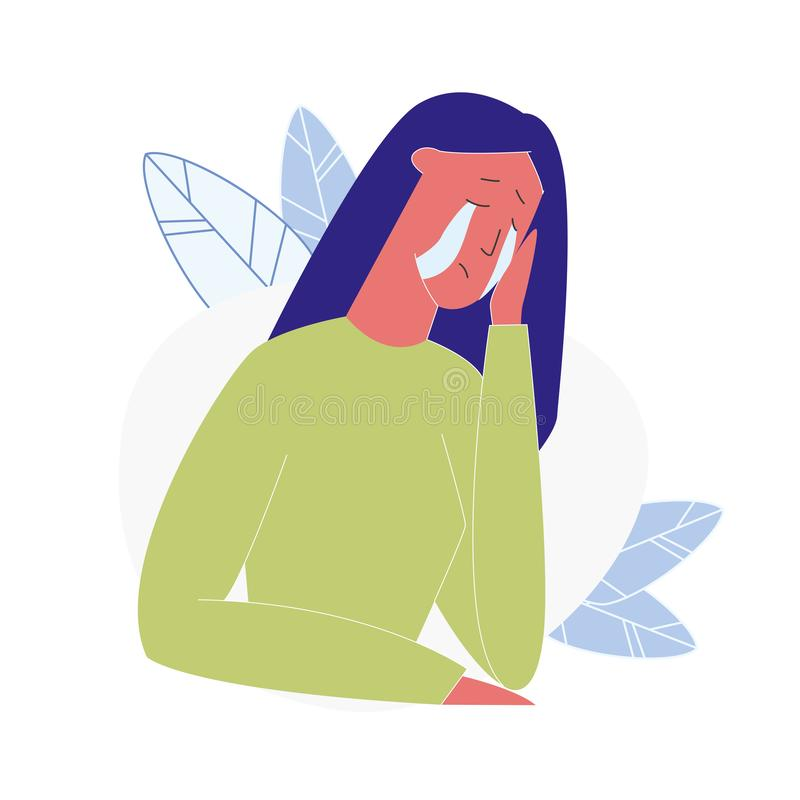 Upset Crying Woman Cartoon Vector Illustration vector illustration