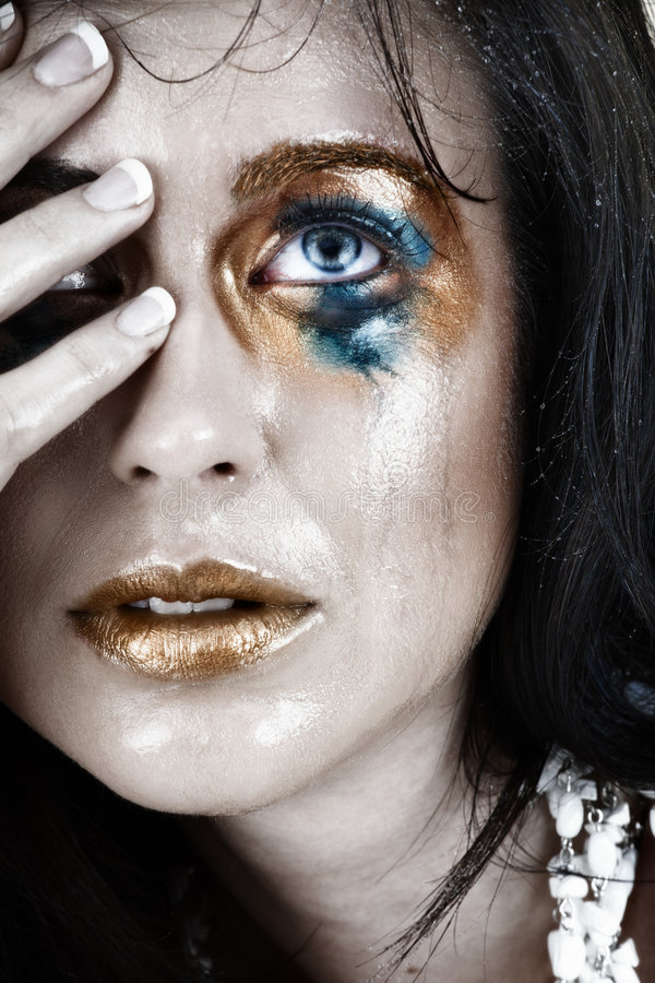 Free Upset Crying Woman With Smudged Make-up Royalty Free Stock Photography - 5762587