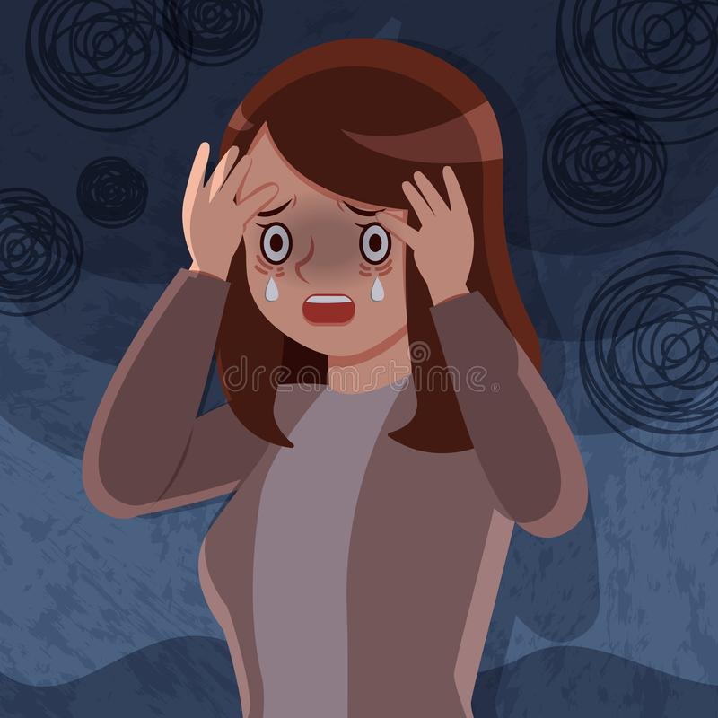 Woman with depressed problem royalty free illustration