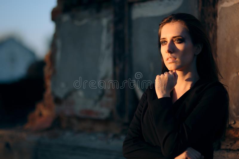 Portrait of a Sad Depressed Woman with Crying Expression royalty free stock image