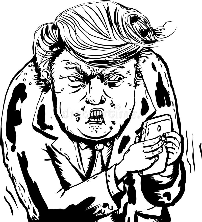 Upset Donald Trump Sending Text Messages. Jan. 9, 2017. Outlined caricature of an angry Donald Trump sending text messages vector illustration