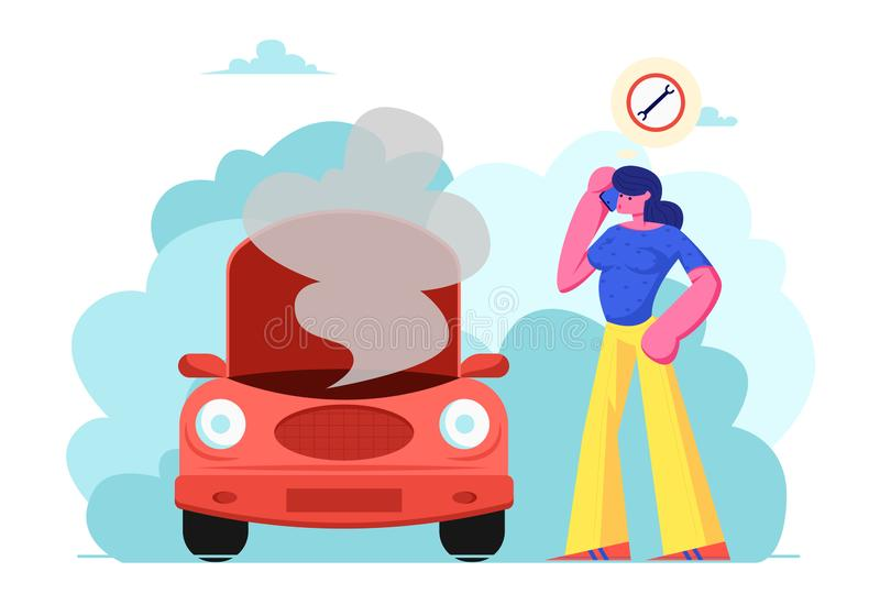 Upset Female Character in Road Accident with Broken Car Call by Mobile Phone to Repair Mechanic Service Standing near Transport royalty free illustration