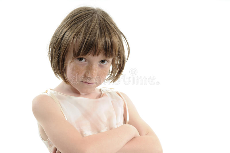 Upset kid with freckles stock photos
