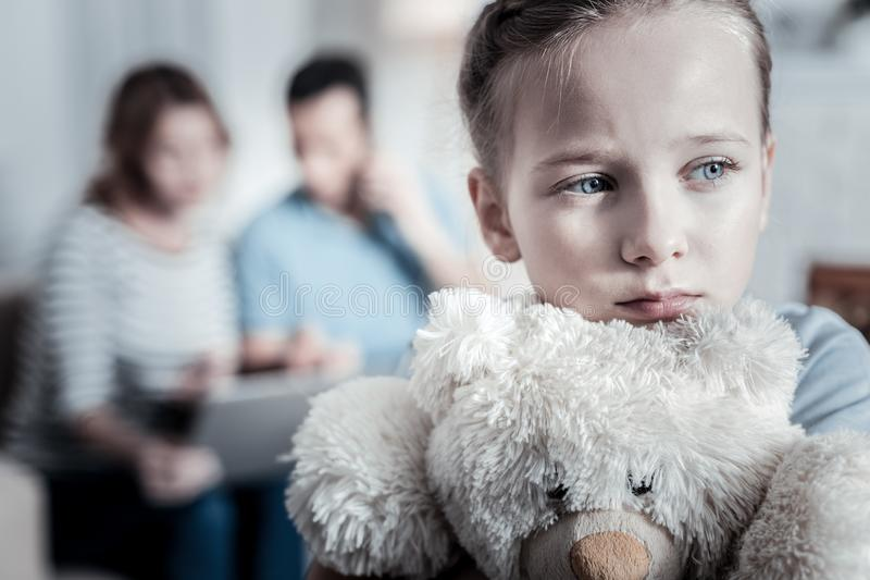 Upset kid looking aside royalty free stock photos